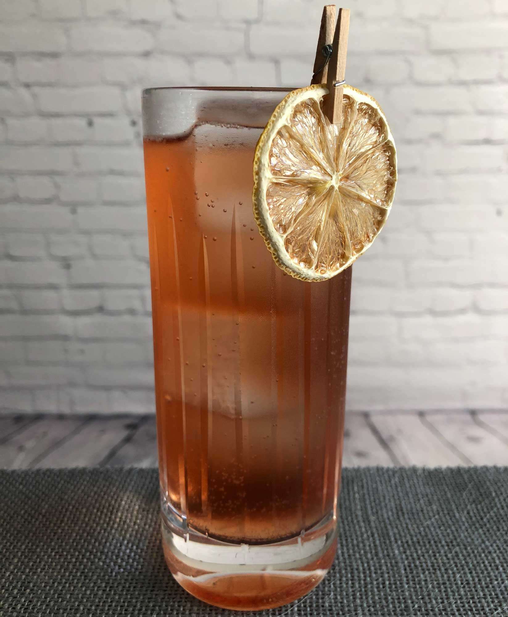 An example of the Catalan Cooler, the mixed drink (cooler) featuring soda water, Dolin Dry Vermouth de Chambéry, and Byrrh Grand Quinquina; photo by Lee Edwards