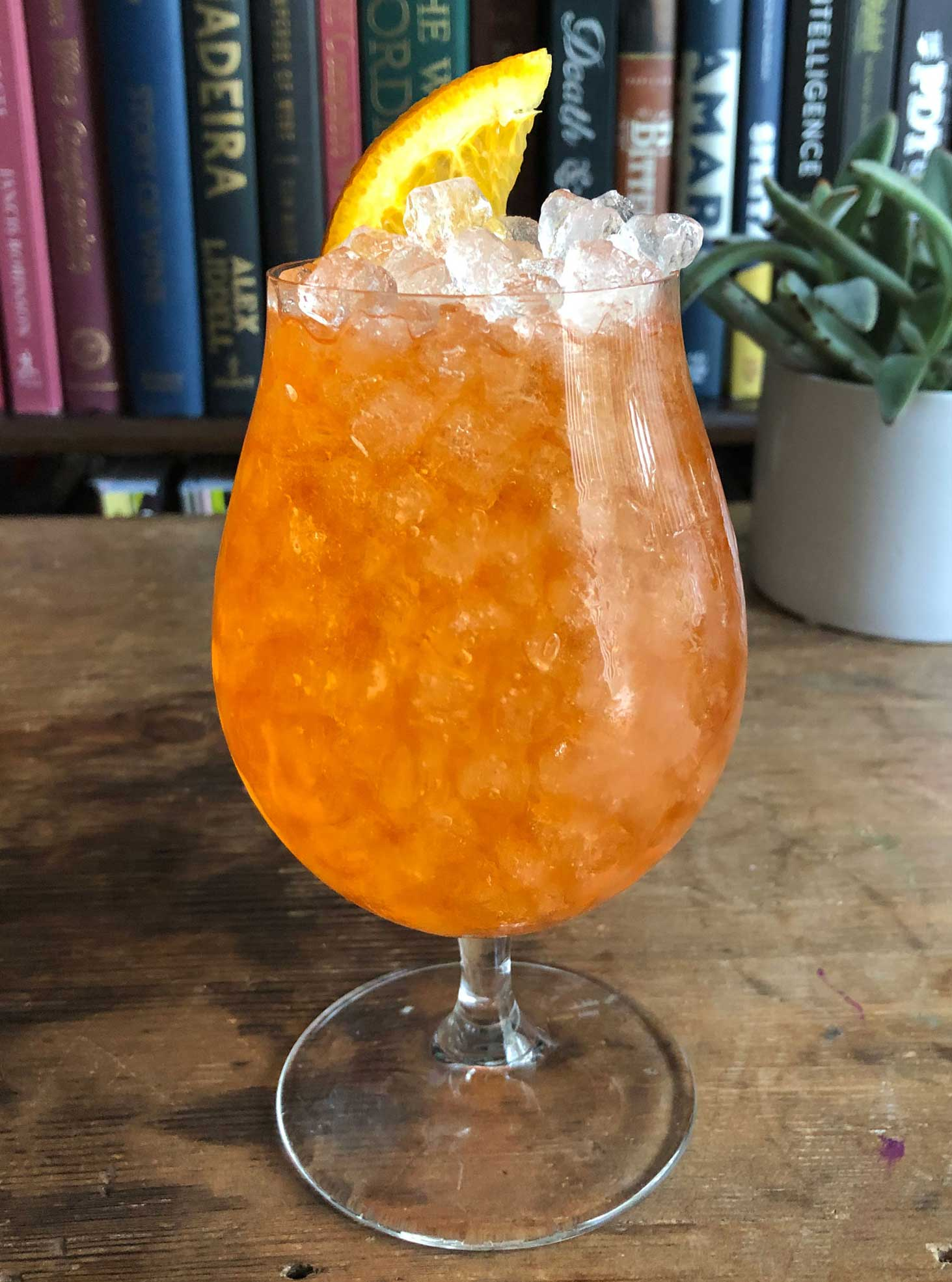 An example of the Spritz Originale, the mixed drink (cocktail) featuring sparkling wine, and Aperitivo Cappelletti; photo by Lee Edwards