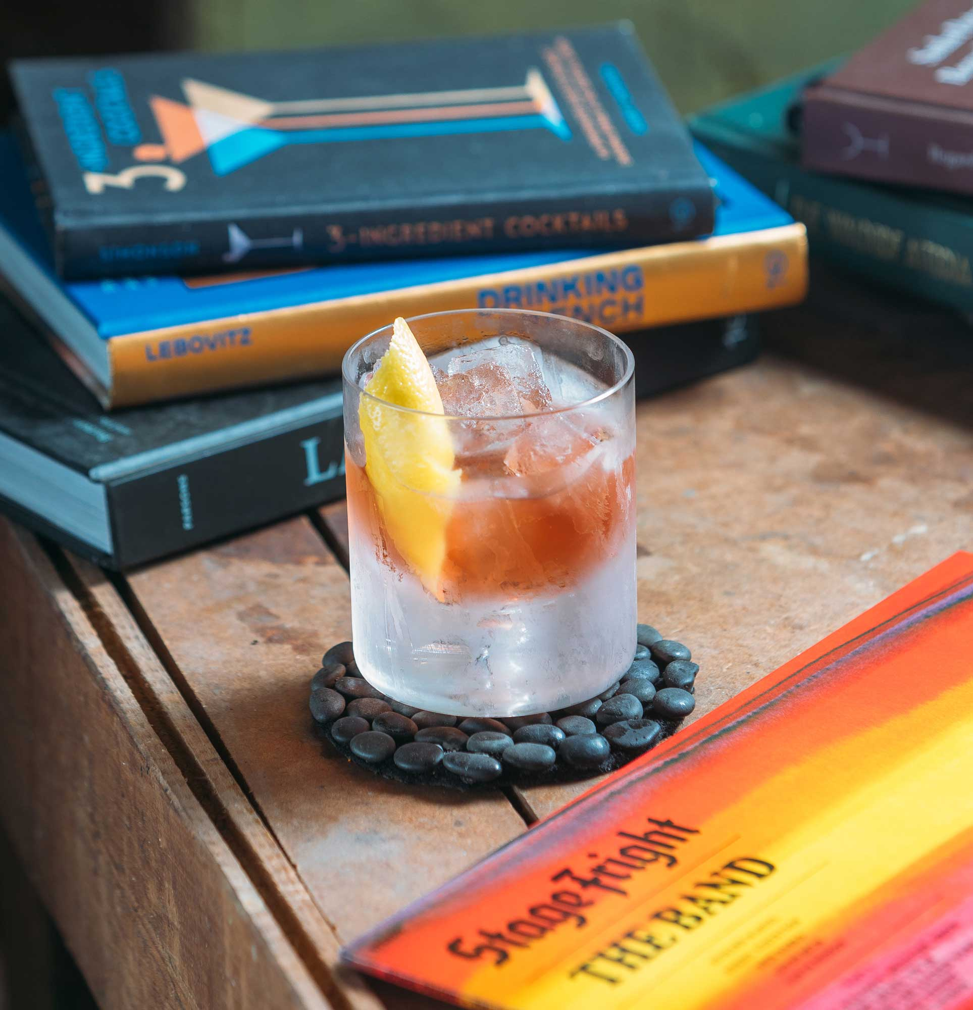 An example of the Violet Negroni, the mixed drink (cocktail) featuring Hayman's London Dry Gin, Byrrh Grand Quinquina, and Salers Gentian Apéritif; photo by S. Kallstrand