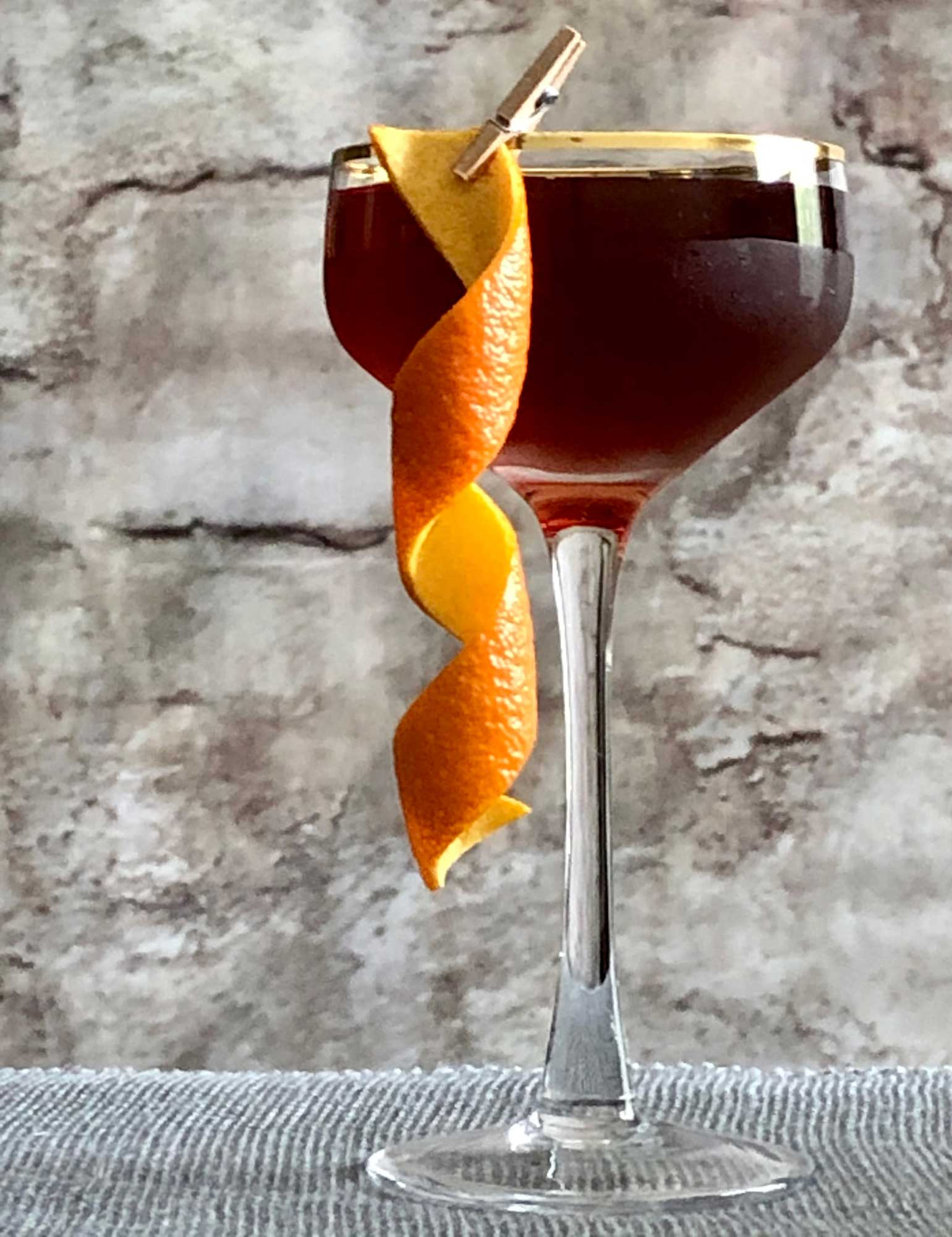 An example of the The Charleston, the mixed drink (cocktail) featuring bourbon whiskey, Henriques & Henriques Rainwater Madeira, Henriques & Henriques Generoso Doce 5 Year Old Madeira, and Angostura bitters; photo by Lee Edwards