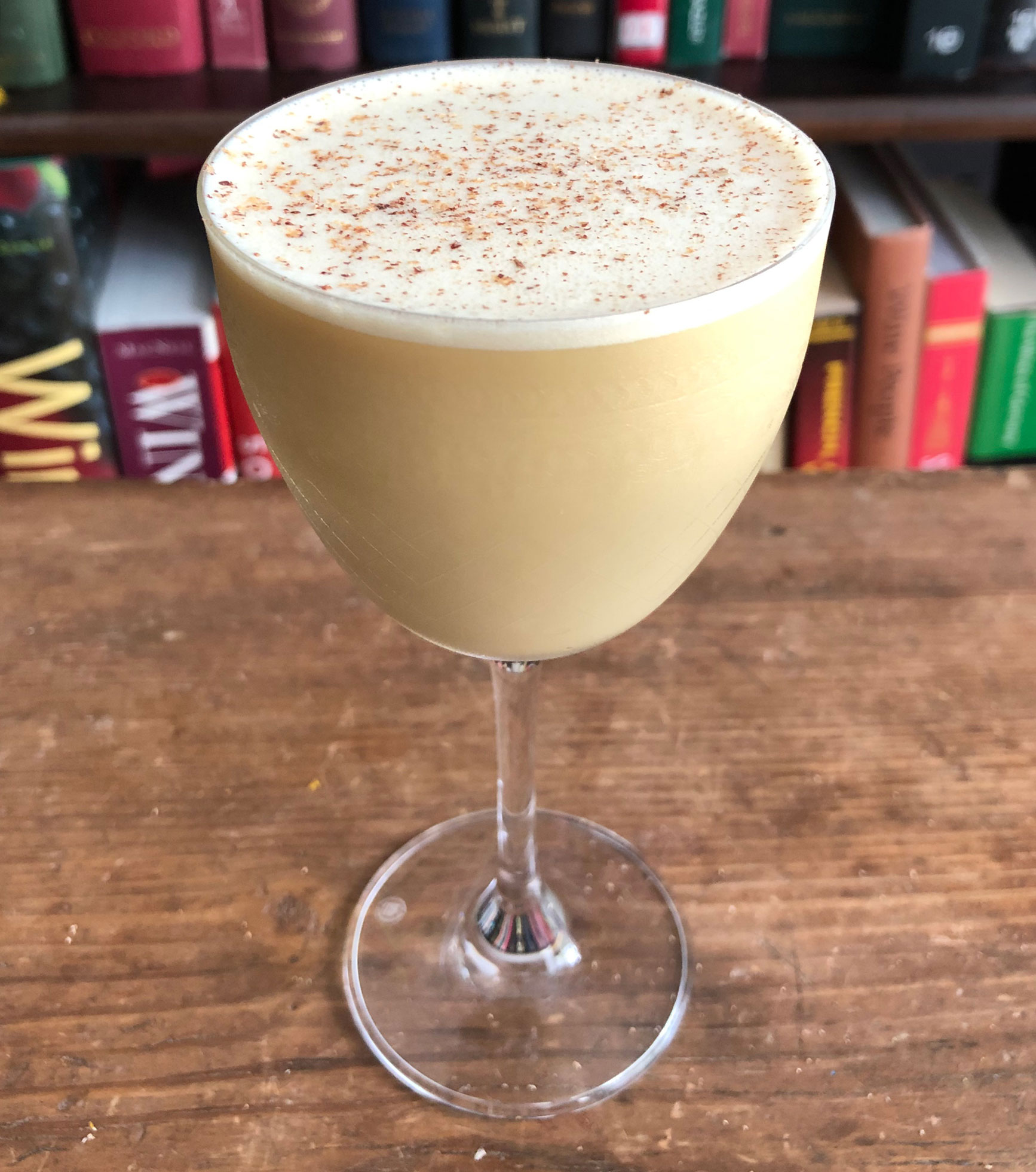 An example of the Flip It and Reverse It, the mixed drink (flip) featuring Saveiro 'Vento do Oeste' Madeira, raw egg, half & half, and maple syrup; photo by Lee Edwards