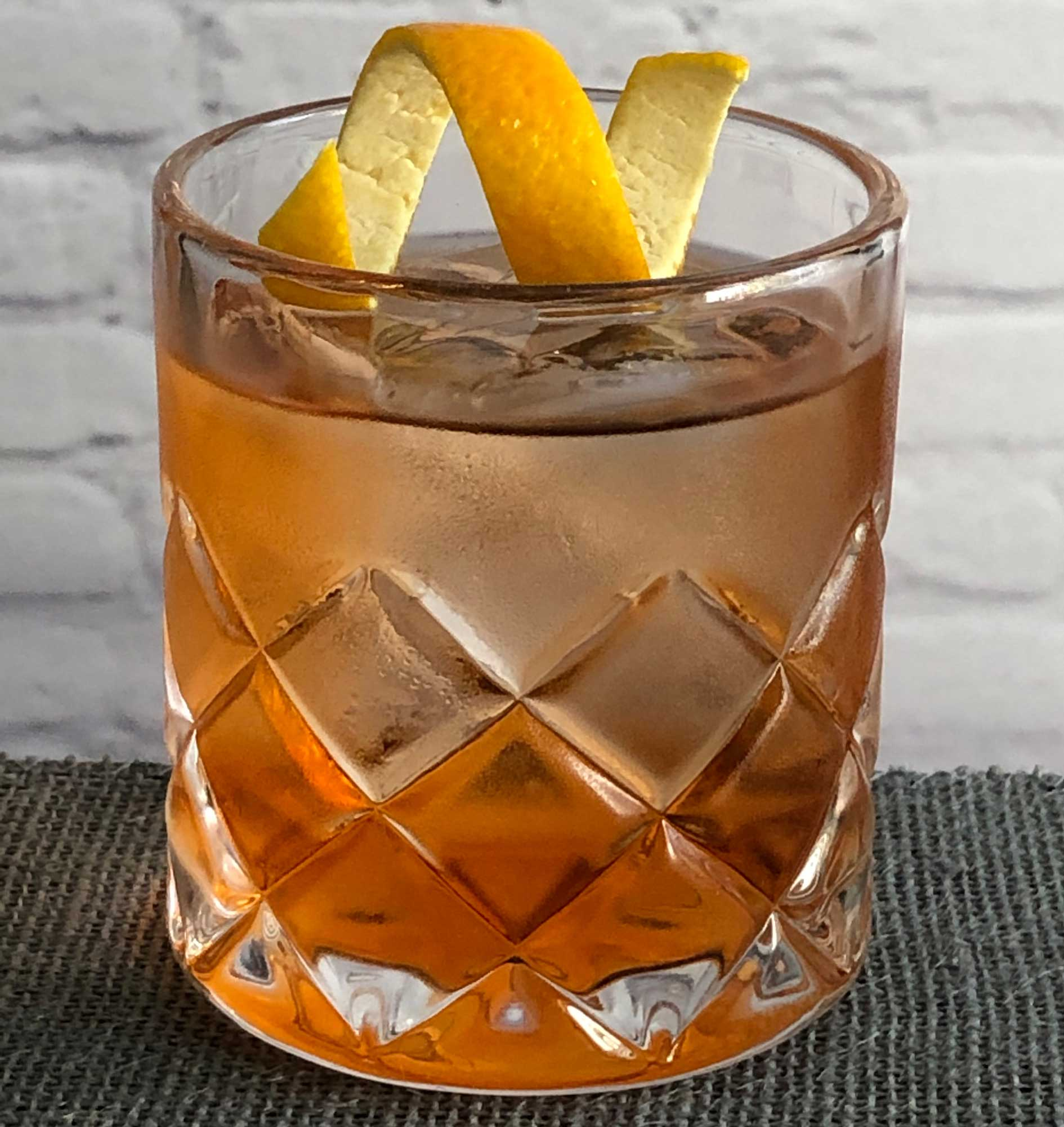 An example of the Rosita, the mixed drink (cocktail) featuring blanco tequila, Dolin Dry Vermouth de Chambéry, Dolin Rouge Vermouth de Chambéry, and Aperitivo Cappelletti; photo by Lee Edwards