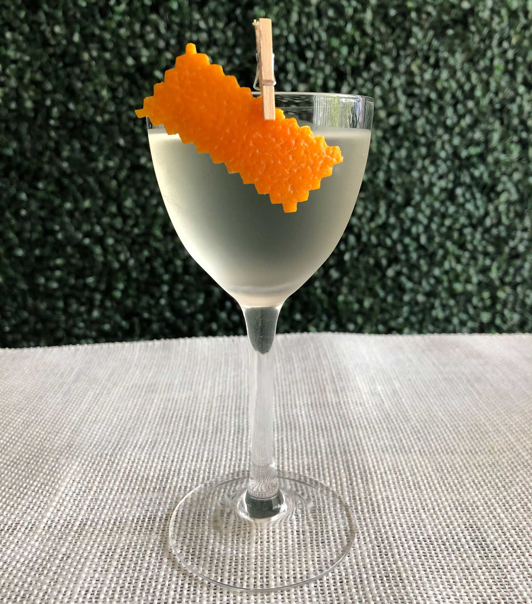 An example of the La Contadi, the mixed drink (cocktail), by Tyler Jay Wang, Kirkland Tap and Trotter, Boston, featuring Hayman's London Dry Gin, kirsch, and Comoz Vermouth Blanc; photo by Lee Edwards