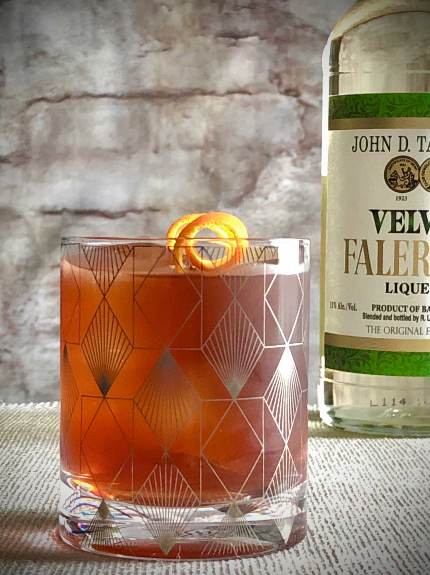 An example of the Maïs et Huile, the mixed drink (cocktail) featuring Matifoc Rancio Sec, John D. Taylor's Velvet Falernum, and Angostura bitters; photo by Lee Edwards