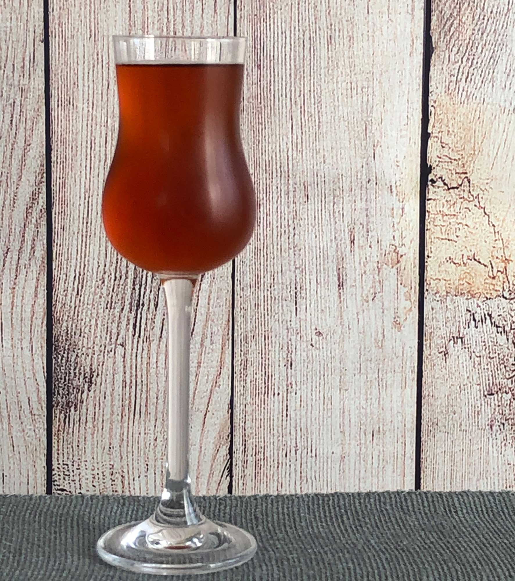 An example of the Firestarter, the mixed drink (cocktail) featuring Mattei Cap Corse Rouge Quinquina, and Dolin Génépy le Chamois Liqueur; photo by Lee Edwards