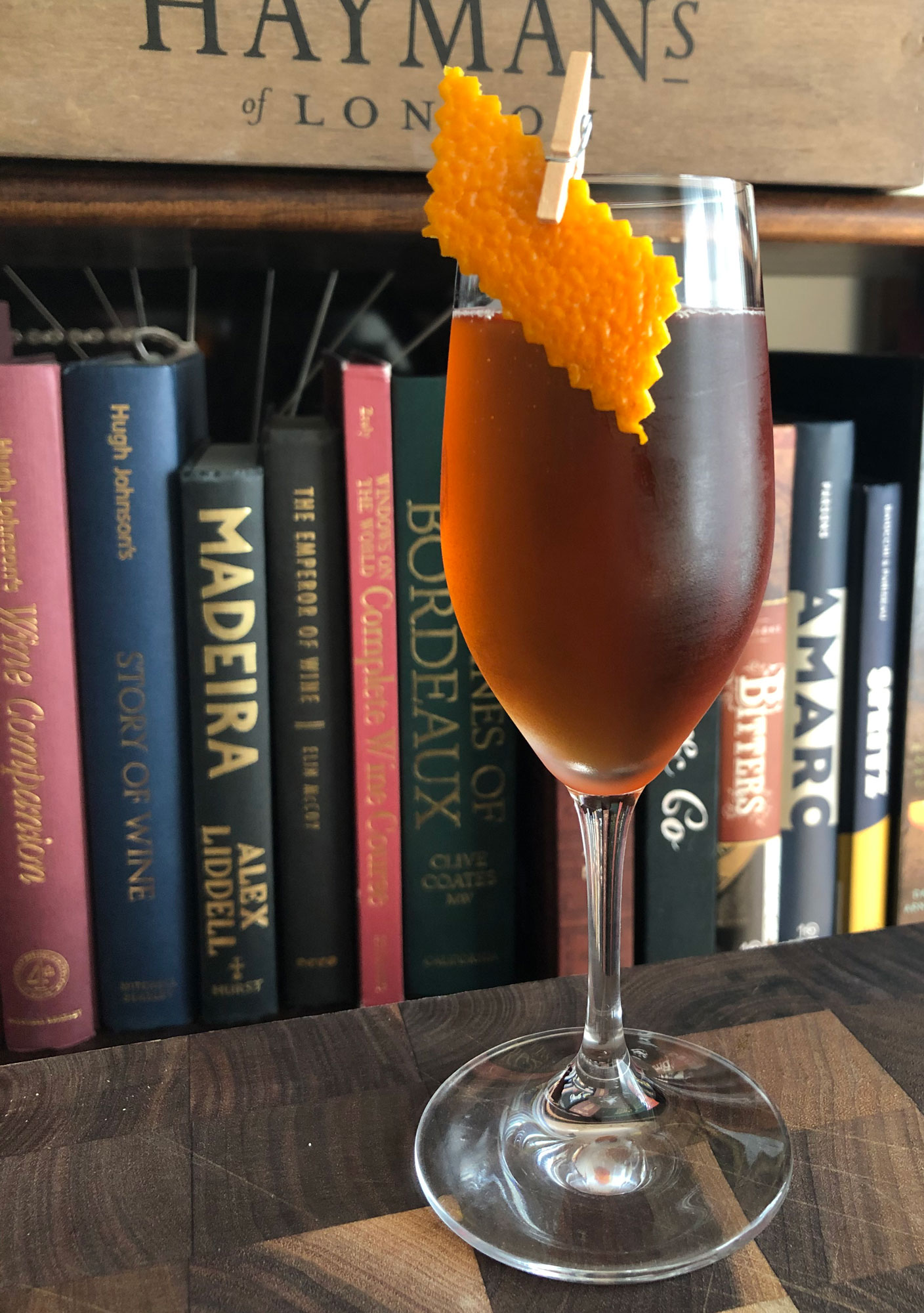 An example of the Vintner's Whimsy, the mixed drink (cocktail) featuring Mattei Cap Corse Rouge Quinquina, Cocchi Vermouth di Torino, and sparkling wine; photo by Lee Edwards