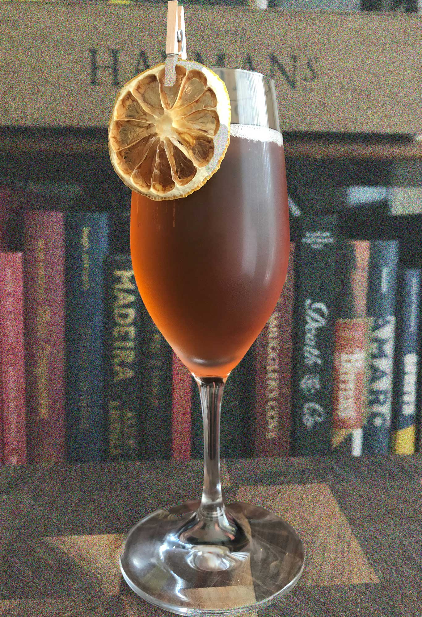 An example of the Merry Berries, the mixed drink (cocktail) featuring Hayman's Sloe Gin, Pasubio Vino Amaro, and sparkling wine; photo by Lee Edwards