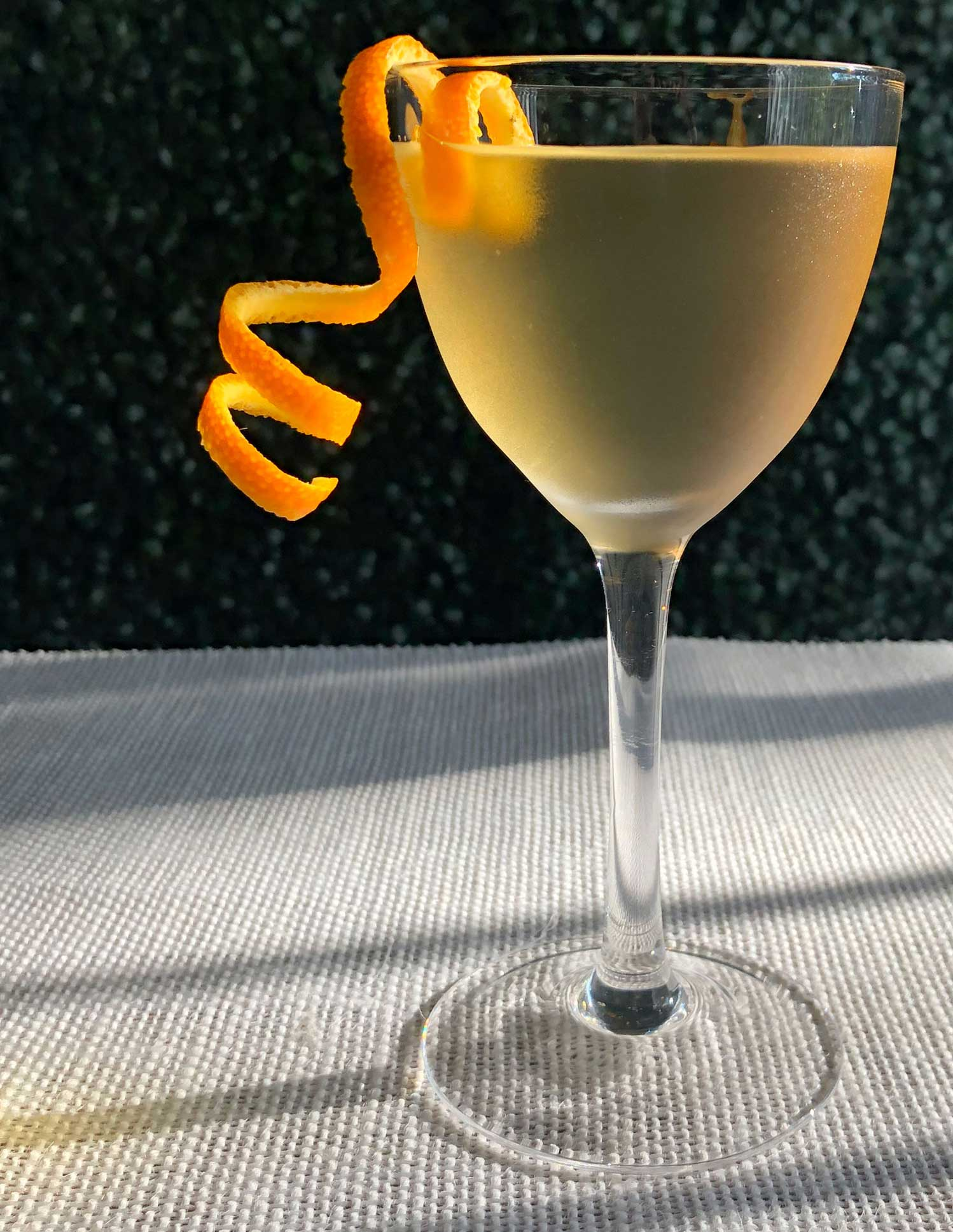 An example of the The Stirrup, the mixed drink (cocktail) featuring blanco tequila, Comoz Vermouth Blanc, and Kronan Swedish Punsch; photo by Lee Edwards