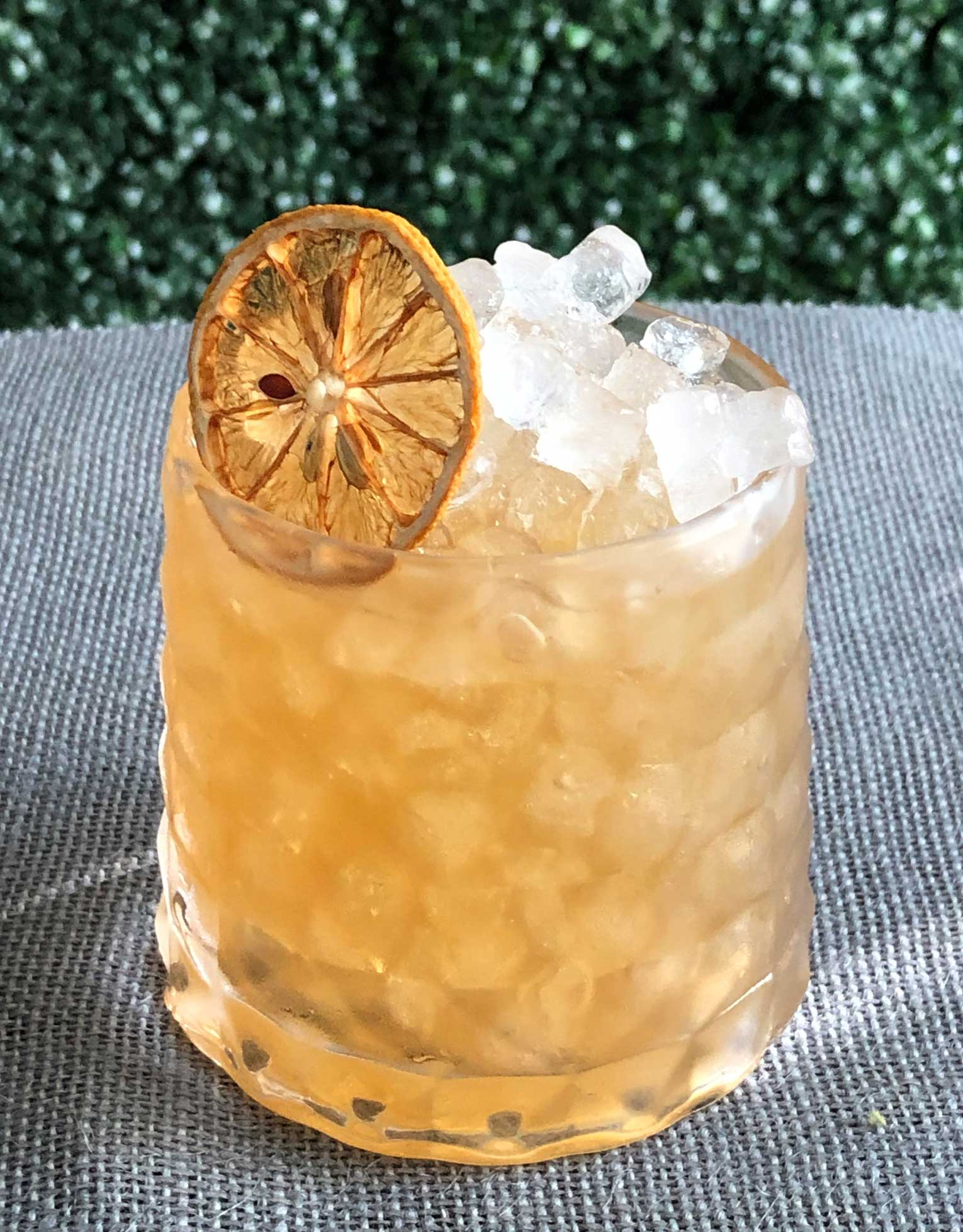 An example of the Crampon Sour, the mixed drink (sour) featuring Amaro Alta Verde, Bonal Gentiane-Quina, simple syrup, and lemon juice; photo by Lee Edwards