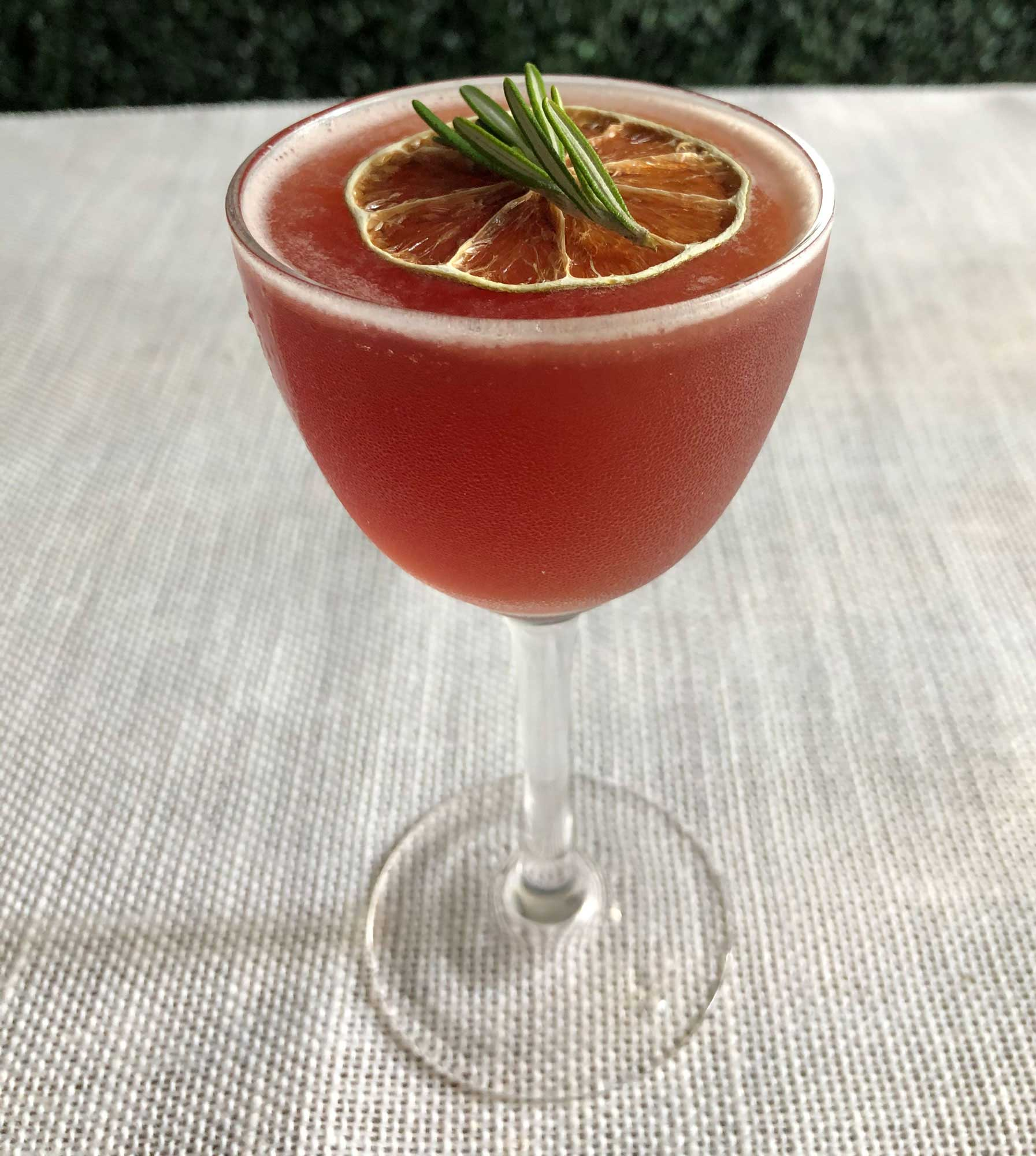 An example of the Alpine Hippie Juice, the mixed drink (cocktail), by Based on a drink by Snack Boys, Milwaukee, featuring Averell Damson Plum Gin Liqueur, cognac, Zirbenz Stone Pine Liqueur of the Alps, grapefruit juice, and lime juice; photo by Lee Edwards