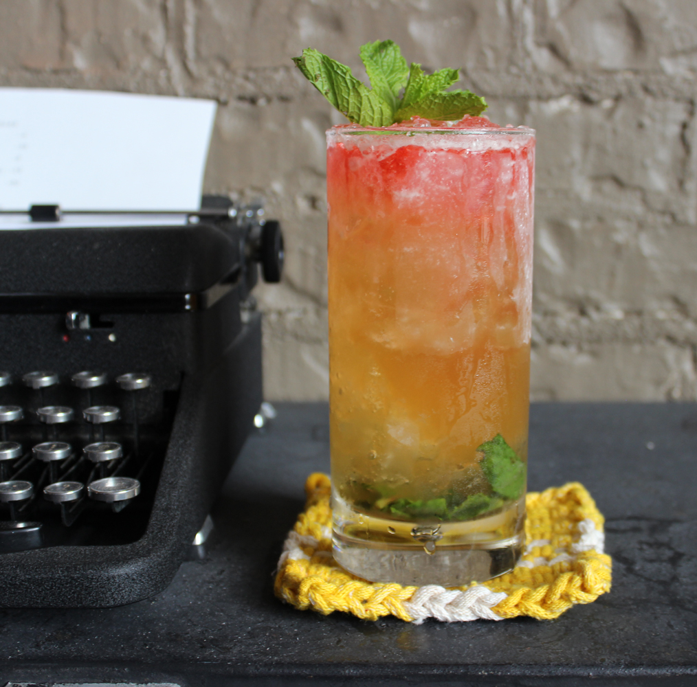 An example of the Rothko no. 2, the mixed drink (cocktail), by Sarah Goyne, Little Rock AR, featuring VS cognac, Matifoc Rancio Sec, simple syrup, lemon juice, and Peychaud's Aromatic Cocktail Bitters; photo by Amy Kelley Bell