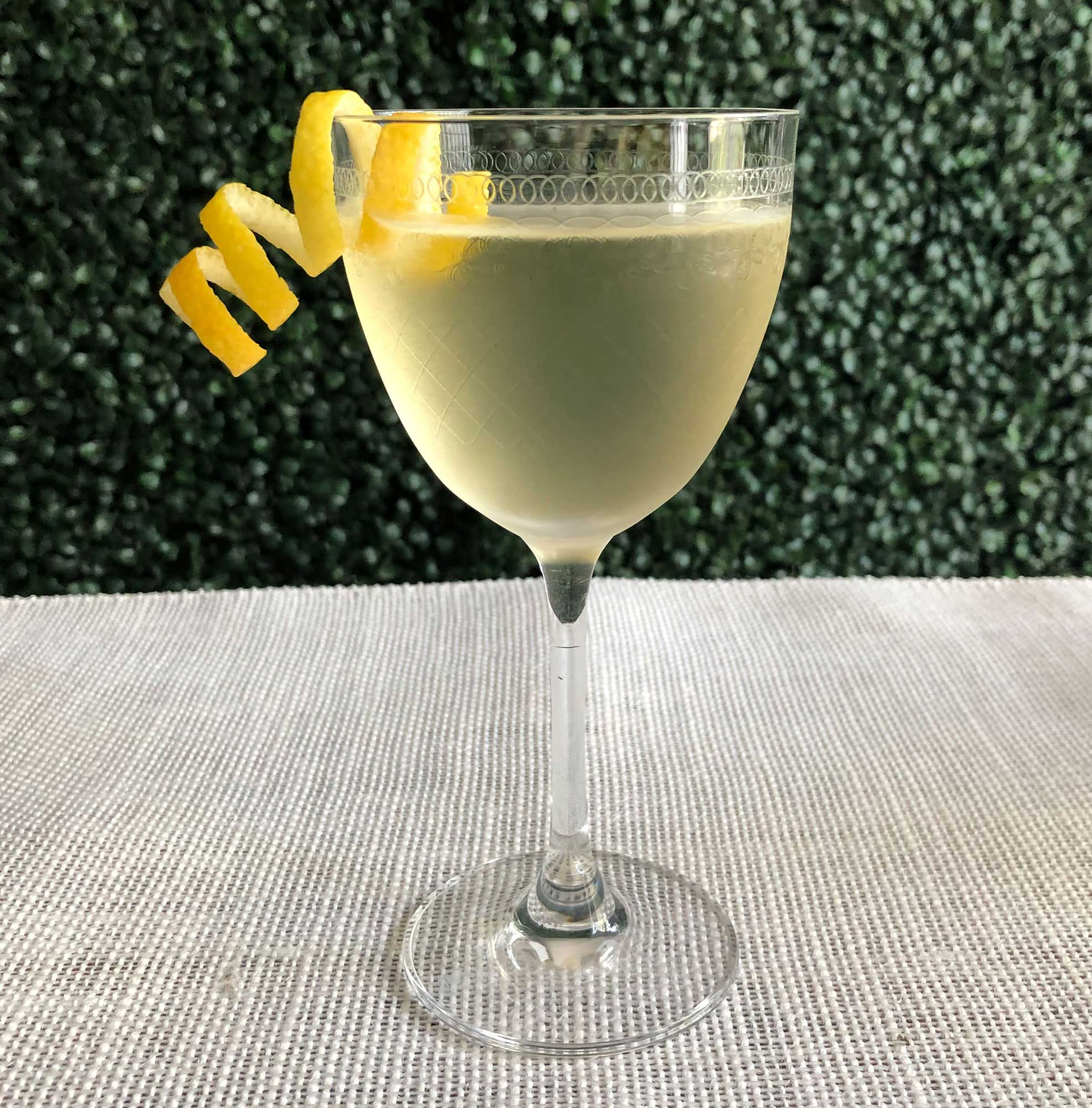 An example of the Parfait Parfait, the mixed drink (cocktail), by Kelly O'Hare, Austin, TX, featuring Hayman's London Dry Gin, Comoz Vermouth Blanc, and Mattei Cap Corse Blanc Quinquina; photo by Lee Edwards