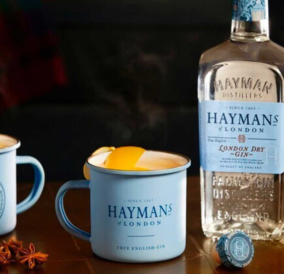 An example of the Hayman's Hot G&T, the mixed drink (cocktail) featuring hot water, Hayman's London Dry Gin, and tonic or syrup; photo by Hayman's of London