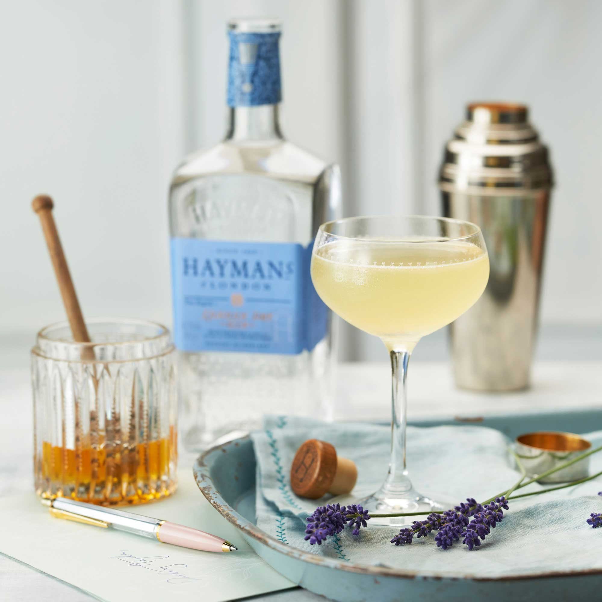 An example of the Bee's Knees, the mixed drink (cocktail), by Frank Meier, Ritz Carlton, Paris, featuring Hayman's London Dry Gin, honey syrup, and lemon juice; photo by Hayman's of London