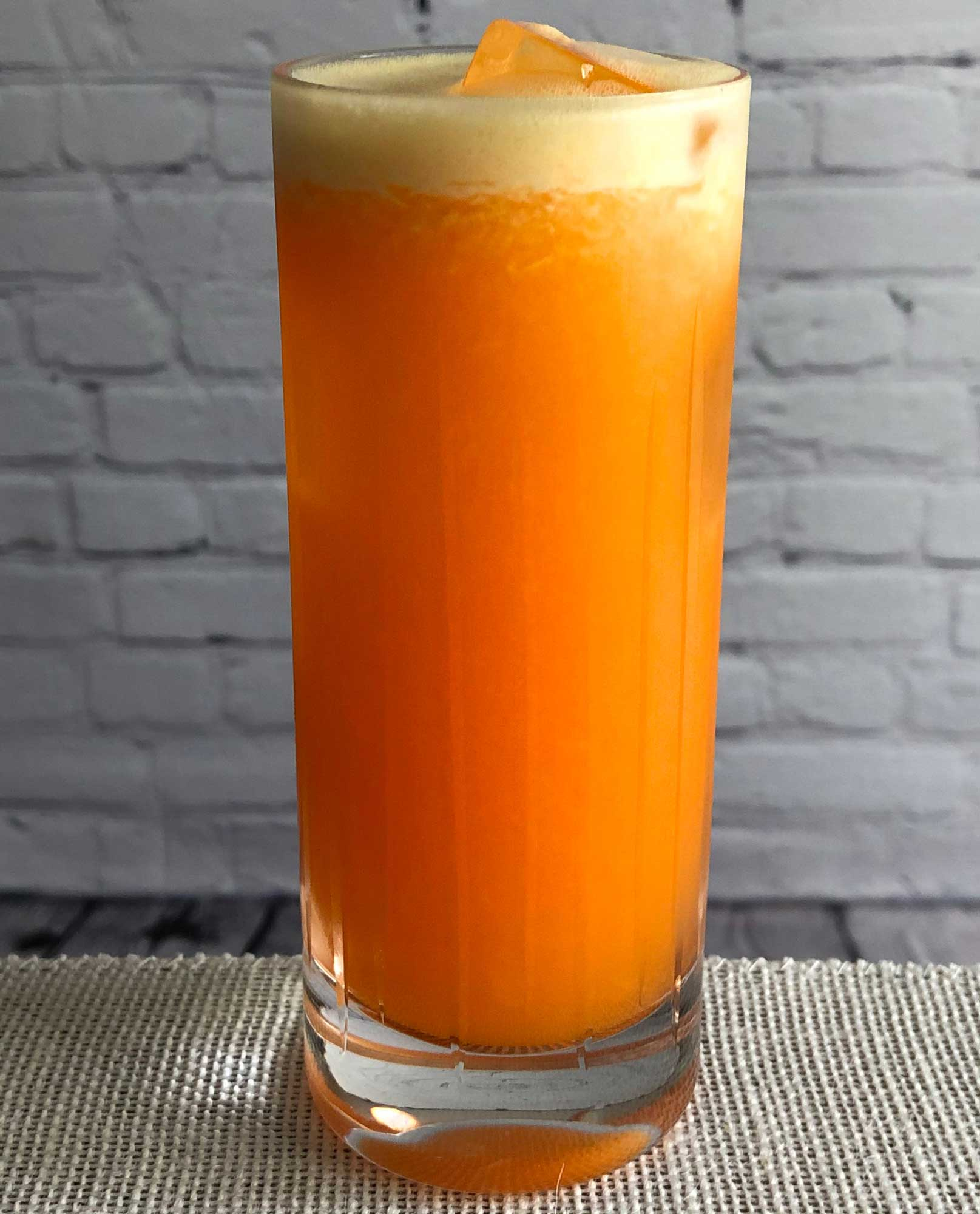 An example of the The Maddalena, the mixed drink (cocktail) featuring orange juice, grapefruit juice, and Aperitivo Cappelletti; photo by Lee Edwards