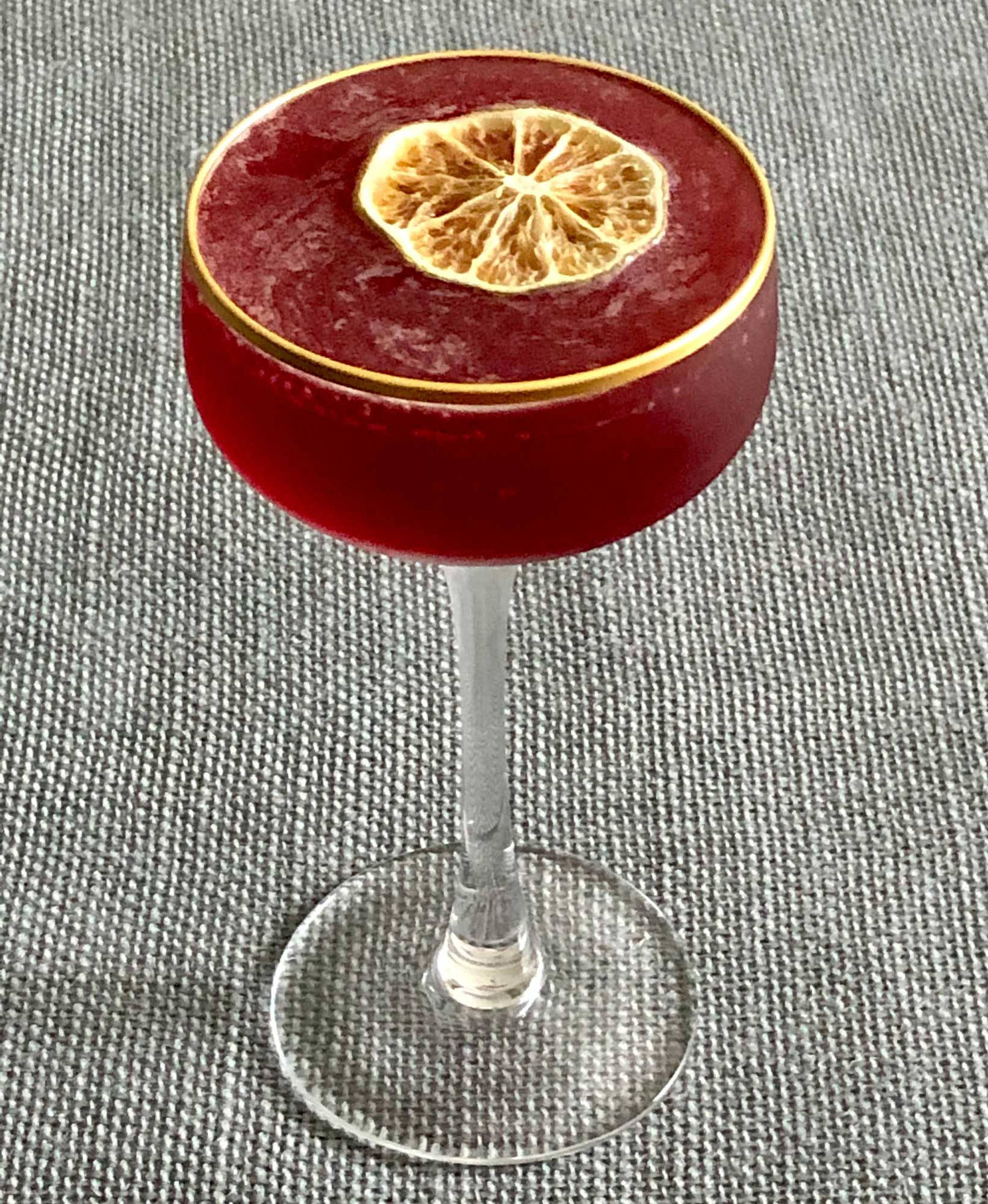An example of the Continental Daiquiri, the mixed drink (cocktail) featuring white rum, Rothman & Winter Orchard Elderberry Liqueur, lemon juice, lime juice, and rich simple syrup; photo by Lee Edwards